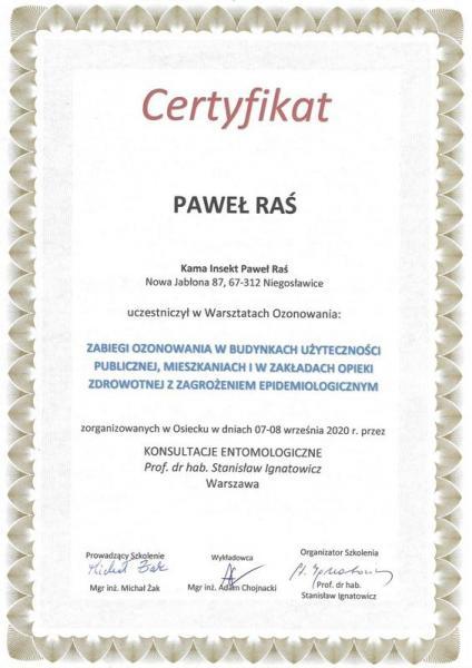 Certyfikat ozonowania